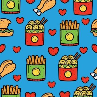 Design de padrão sem emenda de doodle de comida