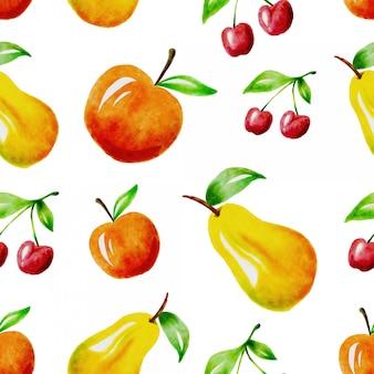 Design de padrão sem emenda de fruta aquarela