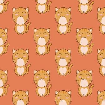 Design de padrão sem emenda de gato fofo