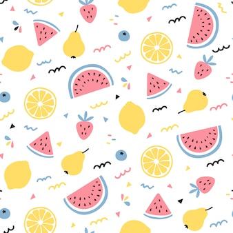 Design de padrão sem emenda de mistura de frutas tropicais