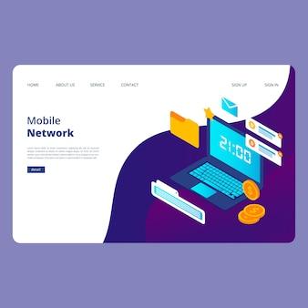 Design de página da web de rede móvel