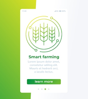 Design de página de aplicativo móvel de agricultura inteligente