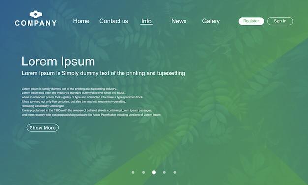 Design de página de aterrissagem com fundo de natureza verde abstrack