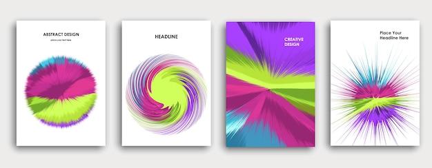 Design de página de capa de livro colorido. fundo abstrato. explosão de tinta. cartaz, relatório anual de negócios corporativos, brochura a4, maquete de revista criativa. traçados de pincel brilhantes. vetor multicolorido.