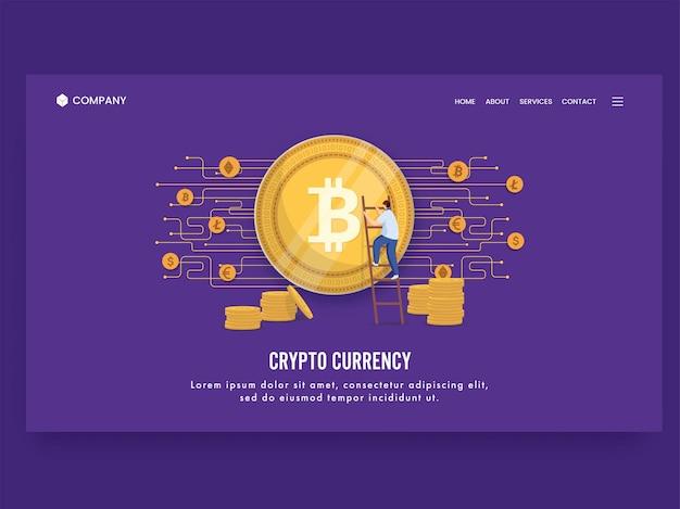 Design de página de destino com base no conceito de criptomoeda