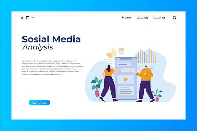Design de página de destino de análise de mídia social com ilustração plana