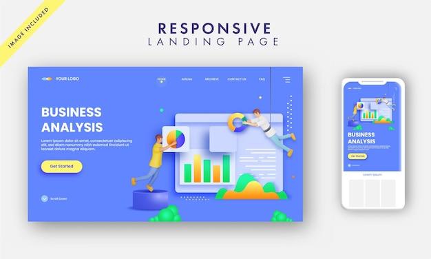 Design de página de destino de análise de negócios com analistas mantendo o site