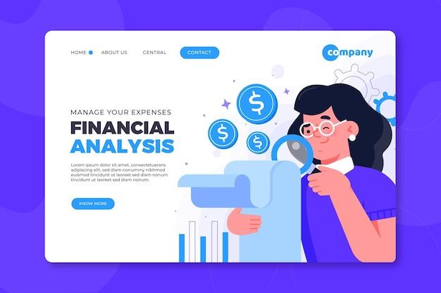 Design de página de destino de análise financeira