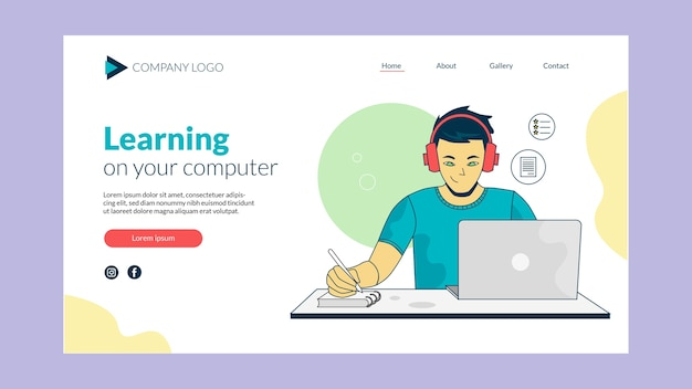 Design de página de destino de aprendizagem online