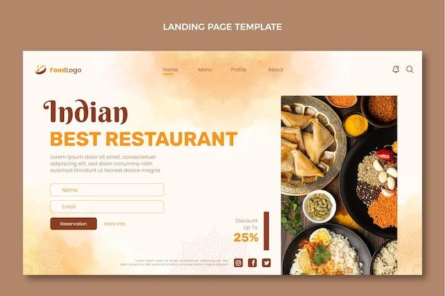 Design de página de destino de comida em aquarela