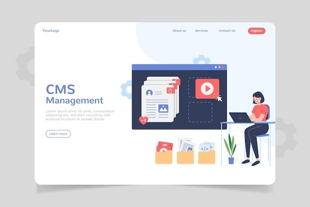 Design de página de destino de conteúdo cms plano