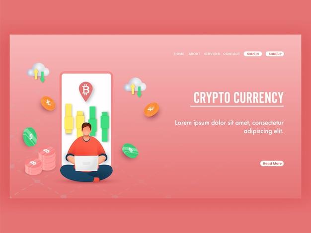 Design de página de destino de criptomoeda com funcionário trabalhando no laptop, controle deslizante na tela do smartphone e moedas criptográficas.