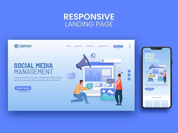 Design de página de destino de gerenciamento de mídia social para aplicativos móveis.