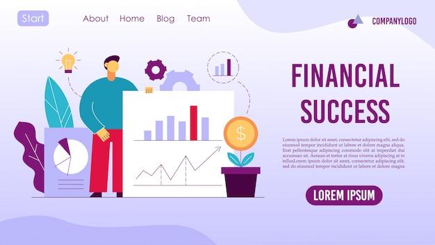 Design de página de destino de gerenciamento de negócios financeiros