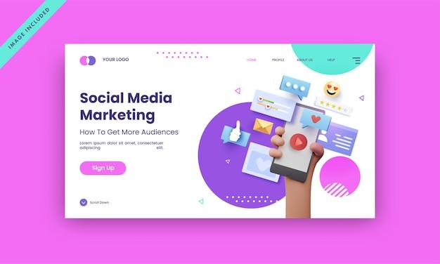 Design de página de destino de marketing de mídia social para o conceito de publicidade.