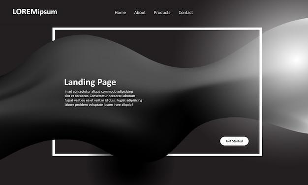 Design de página de destino de site preto e branco
