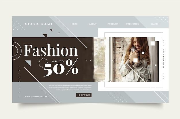 Design de página de destino de venda de moda