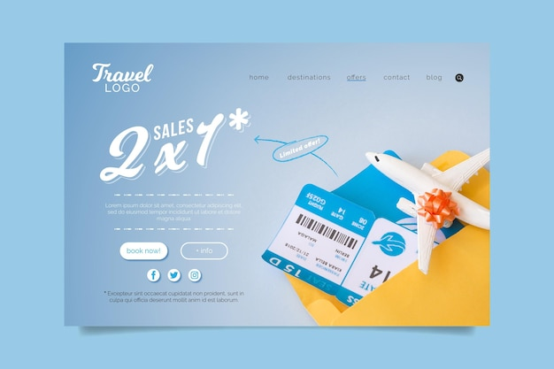 Design de página de destino de venda de viagens com foto