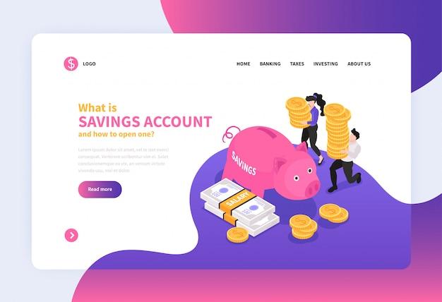 Design de página de destino do conceito de contabilidade isométrica com porco ainda em forma de banco com ilustração vetorial de links