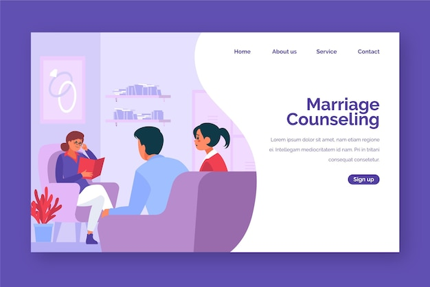 Design de página de destino para aconselhamento matrimonial