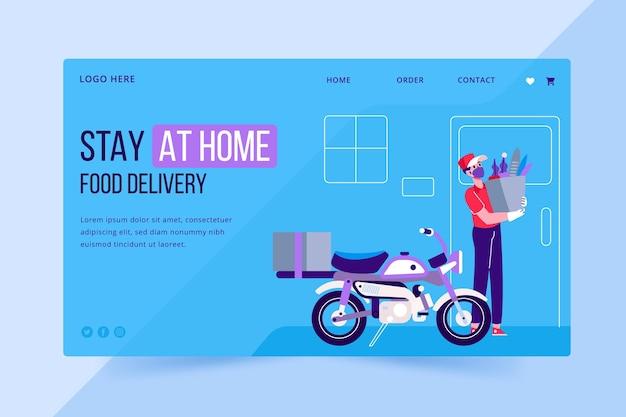 Design de página de destino para entrega segura de alimentos