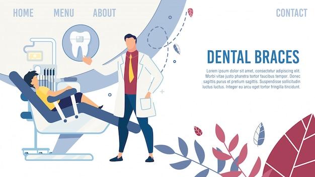 Design de página de destino plana com criança de servir dentista