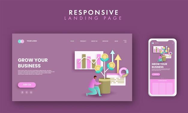 Design de página de destino responsivo com homem segurando o vaso de planta de dinheiro e gráfico de infográfico para crescer seu conceito de negócio.