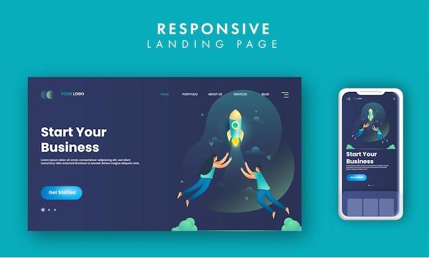 Design de página de destino responsivo com lançamento de foguete para iniciar seu conceito de negócio.