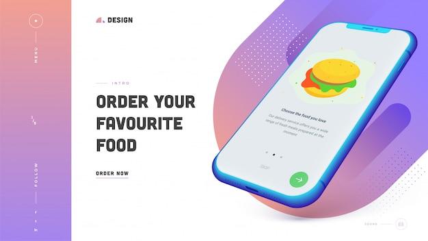 Design de página de destino responsivo com seu pedido de comida favorita no smartphone.