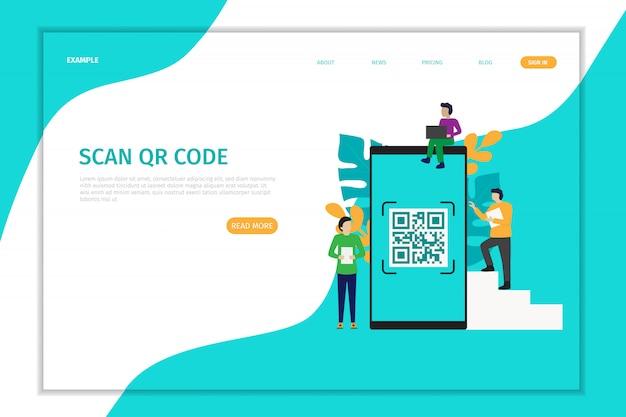 Design de página de destino vetor de varredura de código qr