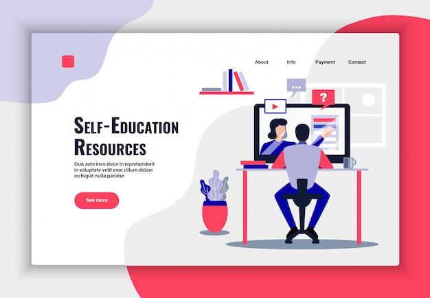 Design de página de educação on-line com ilustração plana de símbolos de recursos de aprendizagem