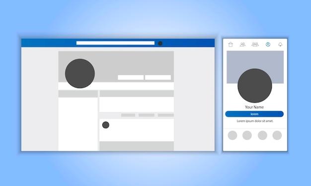 Design de página de perfil responsivo. a mesma conta no smartphone e no desktop.