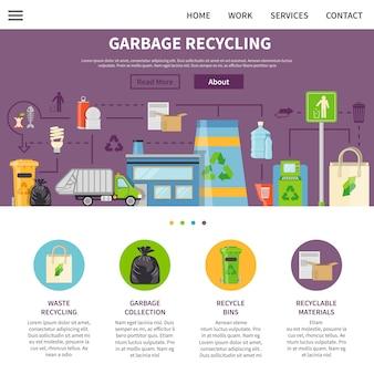 Design de página de reciclagem de lixo