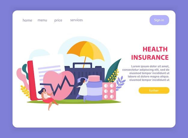 Design de página de seguro saúde com símbolos de preços e serviços vetor plana