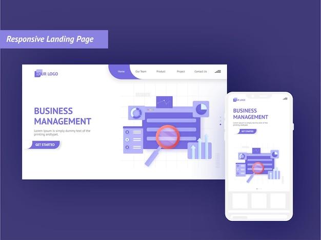 Design de página inicial responsivo com ilustração de smartphone para o conceito de gestão empresarial.