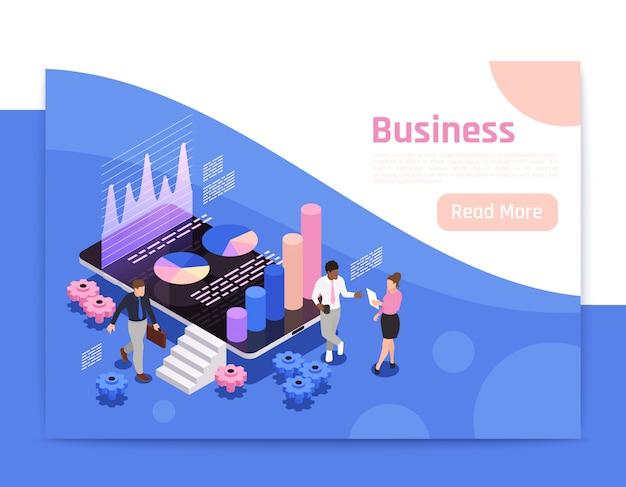 Design de página isométrica de trabalho em equipe de negócios com ilustração de diagramas e gráficos