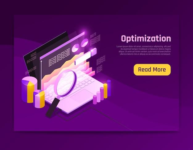 Design de página isométrica de tráfego da web com ilustração de símbolos de otimização de dados