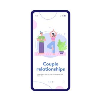 Design de página móvel de integração com casal em um vínculo de relacionamentos felizes, ilustração em vetor plana dos desenhos animados, isolada no fundo branco. atividade para a união de casais.