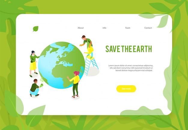 Design de página web da bandeira de conceito de ecologia isométrica ecologia com caracteres humanos do globo terra e links clicáveis