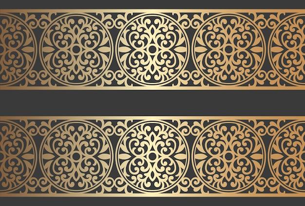Design de painel de corte a laser. modelo de fronteira vetor vintage ornamentado para corte a laser, vitral, gravura em vidro, jateamento de areia, escultura em madeira, fabricação de cartões, convites de casamento.