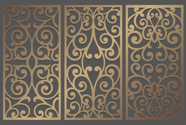 Design de painel de corte a laser. modelo de fronteira vintage ornamentado para corte a laser, vitral, gravura em vidro, jateamento de areia, escultura em madeira, fabricação de cartões, convites de casamento.