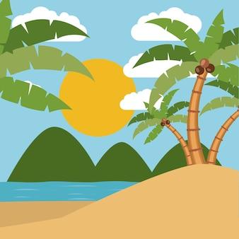 Design de paisagem tropical de verão