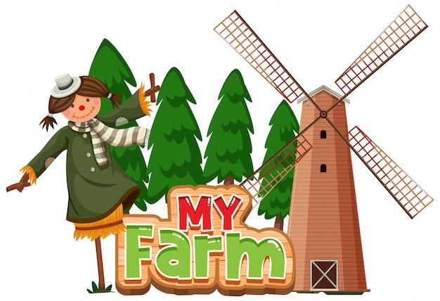 Design de palavra para minha fazenda com espantalho e moinho de vento