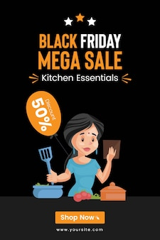 Design de panfleto da black friday mega sale em kitchen essentials