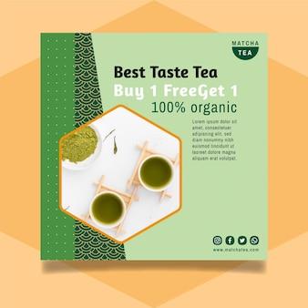 Design de panfleto de chá matcha
