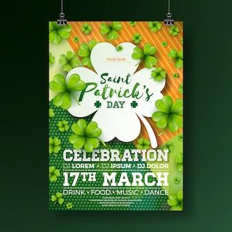Design de panfleto de festa de dia de saint patrick com trevo