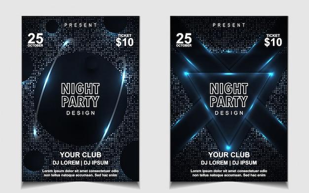 Design de panfleto ou cartaz de música elegante noite azul escuro dança festa