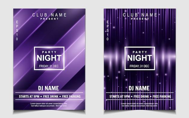 Design de panfleto ou cartaz de música noite roxa luz dança festa