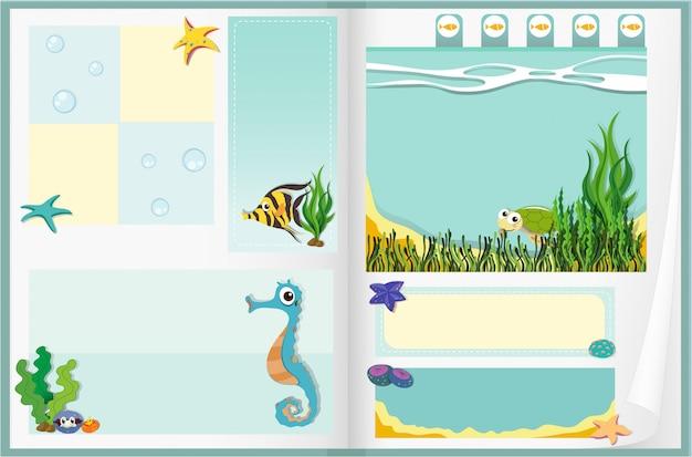 Design de papel com cena subaquática