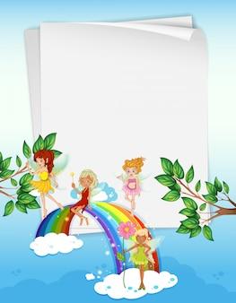 Design de papel com fadas e arco-íris